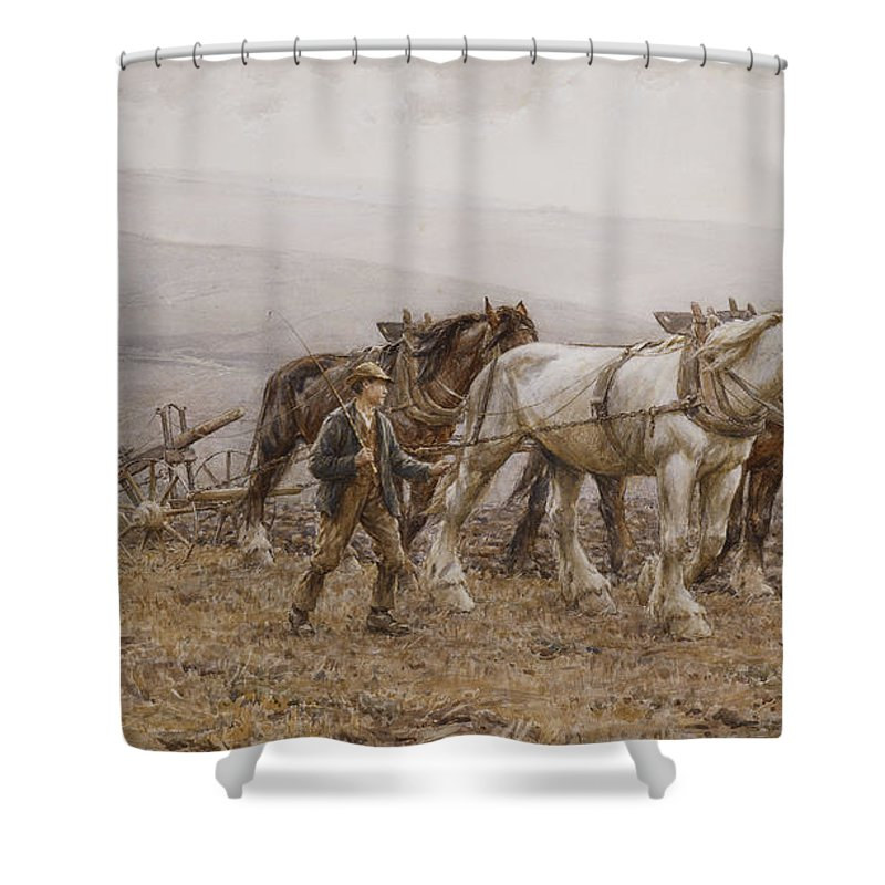 Agricultural Shower Curtain featuring the painting The Ploughman Wilmington Polegate Near Eastbourne by Joseph Harold Swanwick