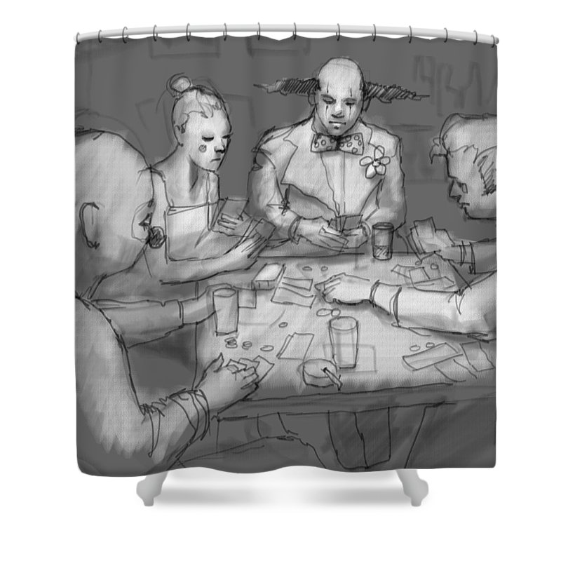 Clowns Shower Curtain featuring the digital art The Poker Game by H James Hoff