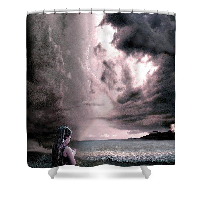 Children Shower Curtain featuring the mixed media The Prayer by Bill Stephens
