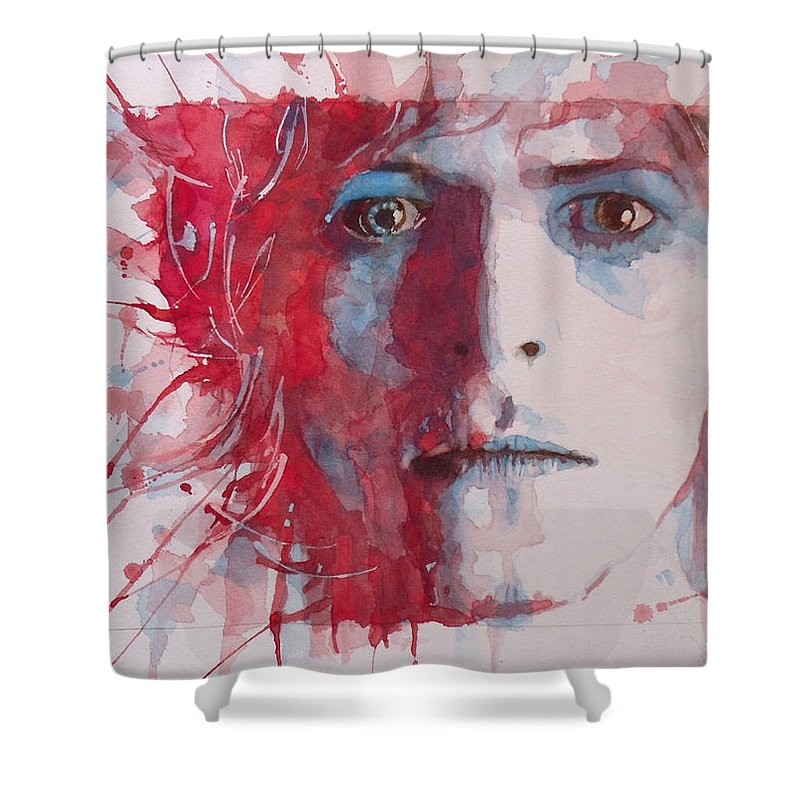 David Bowie Shower Curtain featuring the painting The Prettiest Star by Paul Lovering