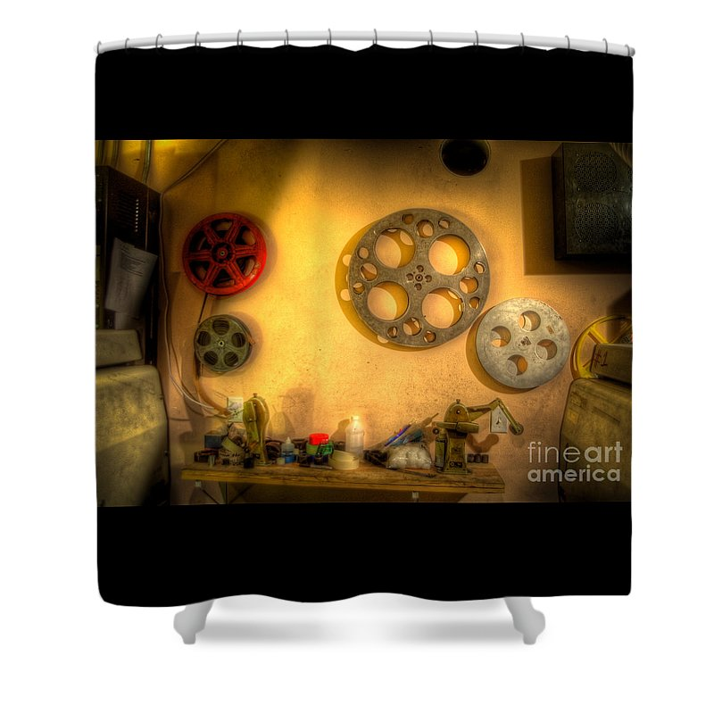 Hdr Shower Curtain featuring the photograph The Projection Room 4675 by Timothy Bischoff