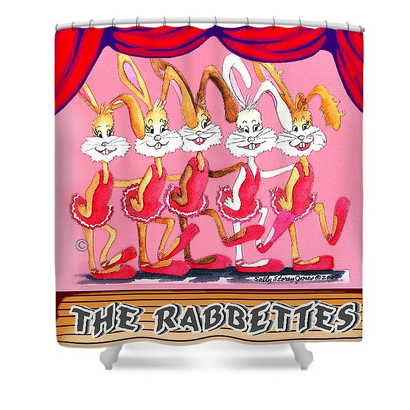 Rabbit Shower Curtain featuring the painting The Rabbettes by Sally Storey Jones