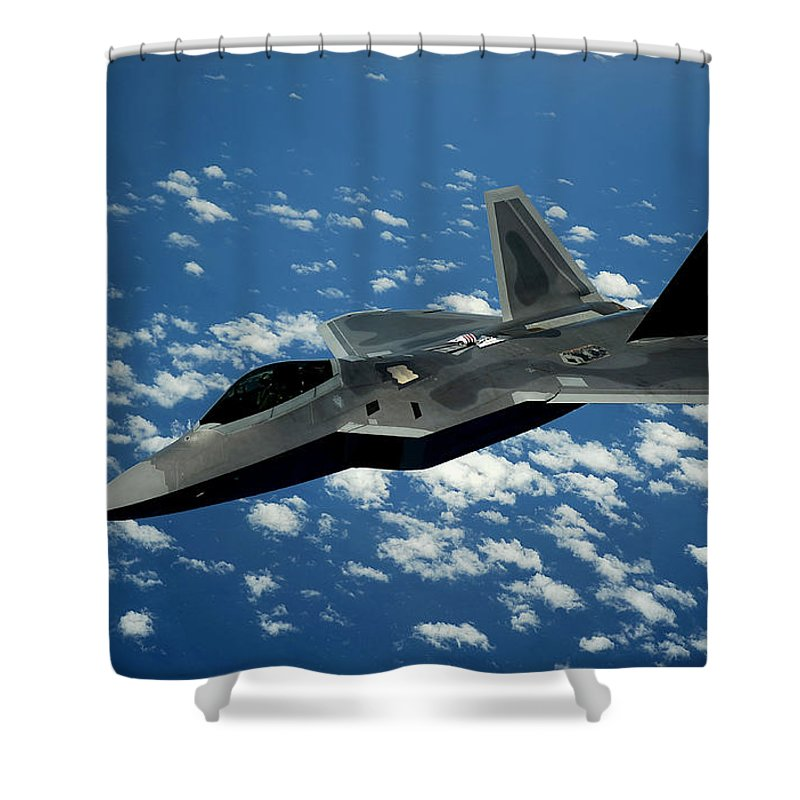 F-22 Raptor Shower Curtain featuring the photograph The Raptor by Mountain Dreams