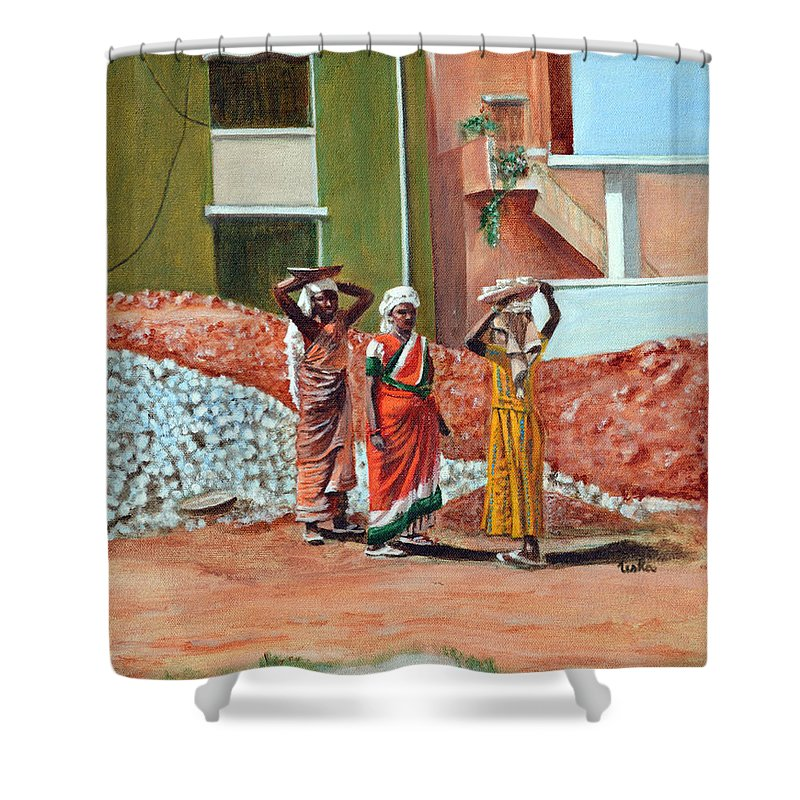 Real Shower Curtain featuring the painting The Real Home Makers by Usha Shantharam