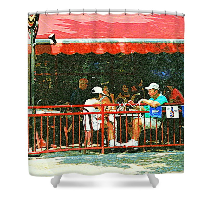 Montreal Cafe Shower Curtain featuring the painting The Red Awning Cafe On St. Denis - A Shady Spot To Enjoy A Cold Beer On A Very Hot Sunday In July by Carole Spandau