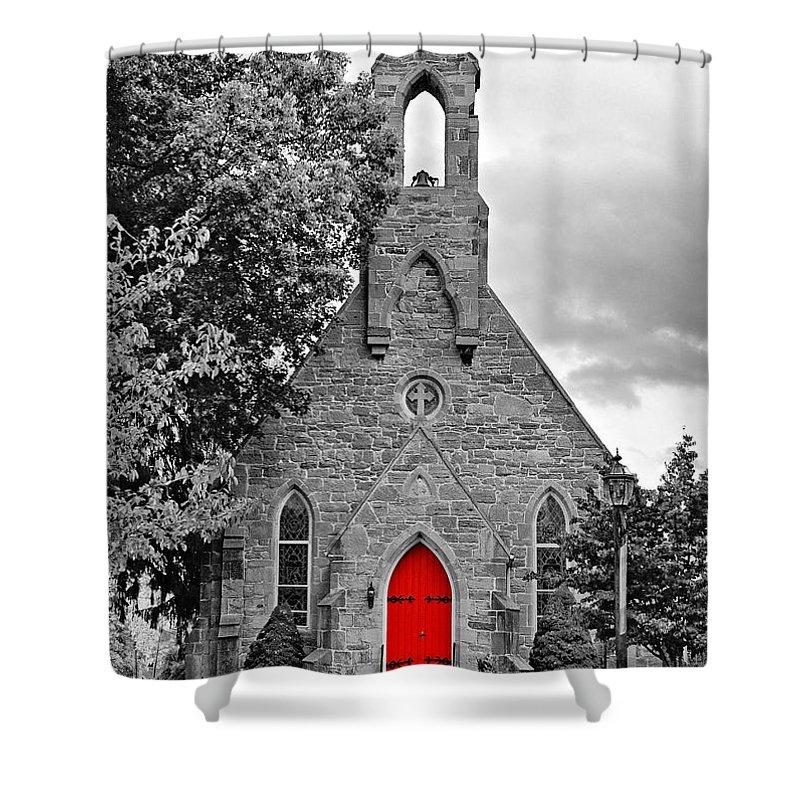 Pennsylvania Shower Curtain featuring the photograph The Red Door Monochrome by Steve Harrington