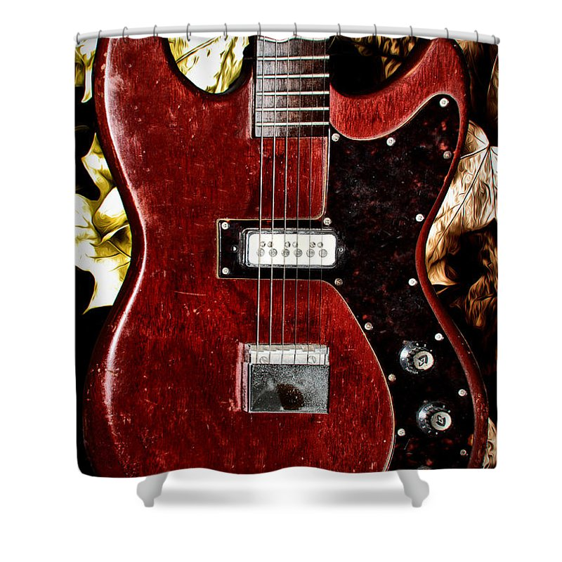 Red Shower Curtain featuring the photograph The Red Guitar Blues by Bill Cannon