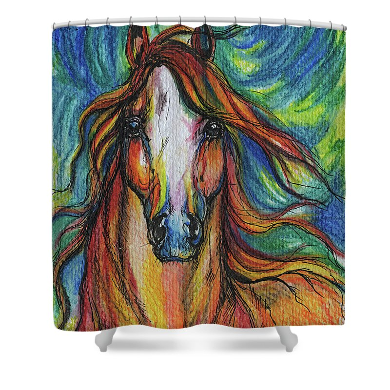 Psychodelic Shower Curtain featuring the painting The Red Horse by Angel Ciesniarska