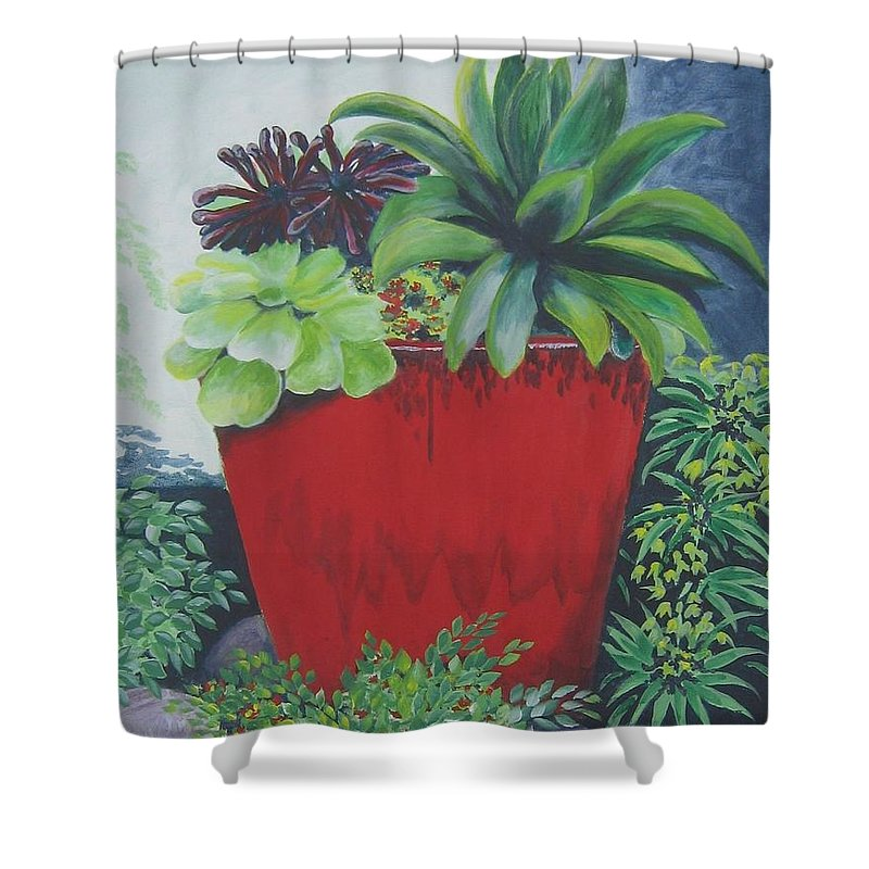 Red Pot Shower Curtain featuring the painting The Red Pot by Suzanne Theis