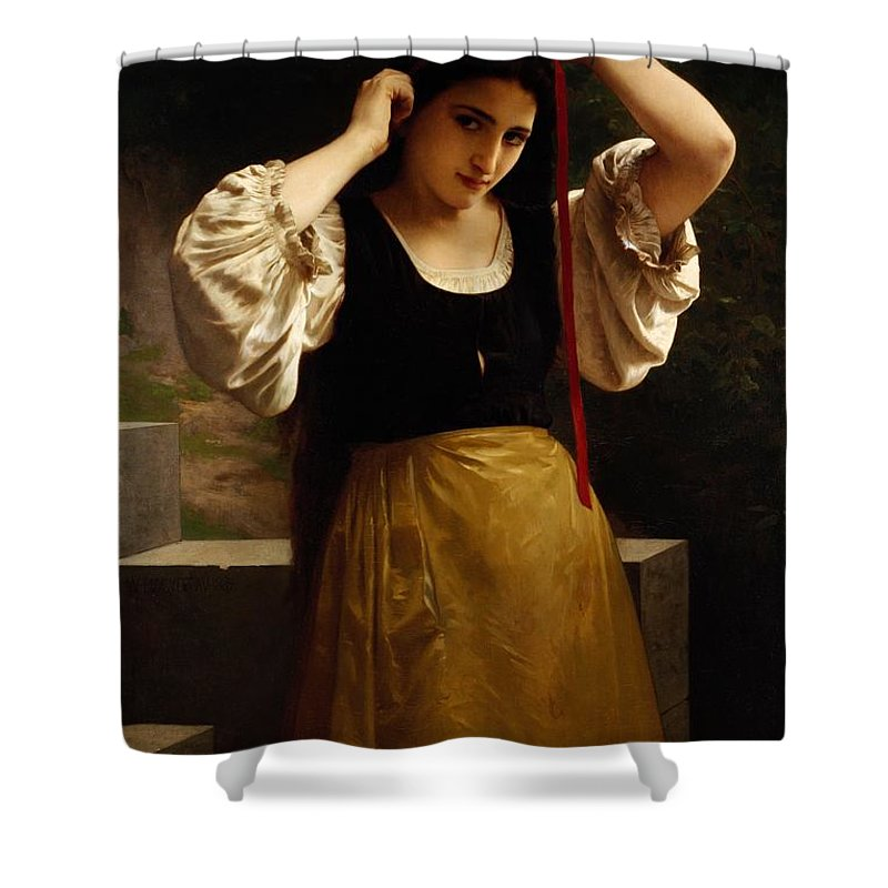 The Red Ribbon Shower Curtain Featuring Painting By William Adolphe Bouguereau