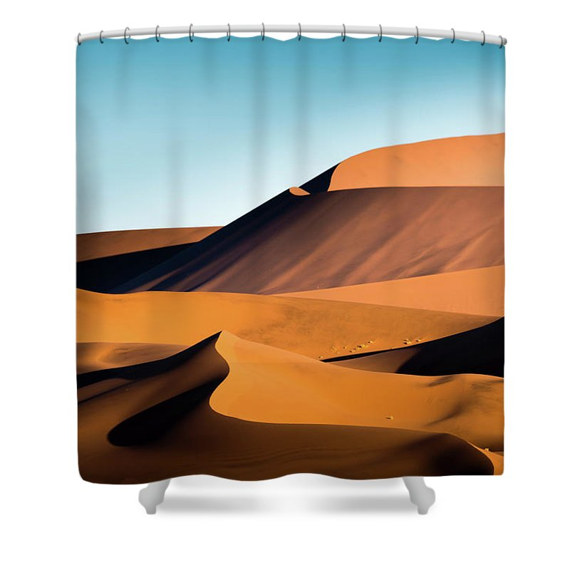 Sand Dune Shower Curtain featuring the photograph The Red Sand Dunes In Namibia by José Gieskes Fotografie