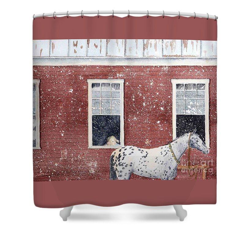Horses Shower Curtain featuring the painting The Ride Home by LeAnne Sowa