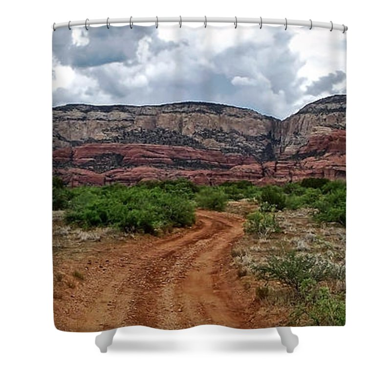 Sedona Arizona Shower Curtain featuring the photograph The Road To Possibilities by Elaine Malott