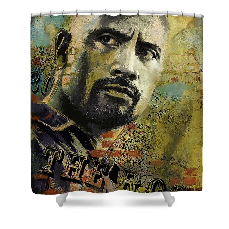 The Rock Shower Curtain Featuring Painting By Corporate Art Task Force