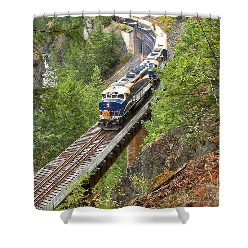 Rocky Mountaineer Shower Curtain featuring the photograph The Rocky Mountaineer Railroad by Adam Jewell