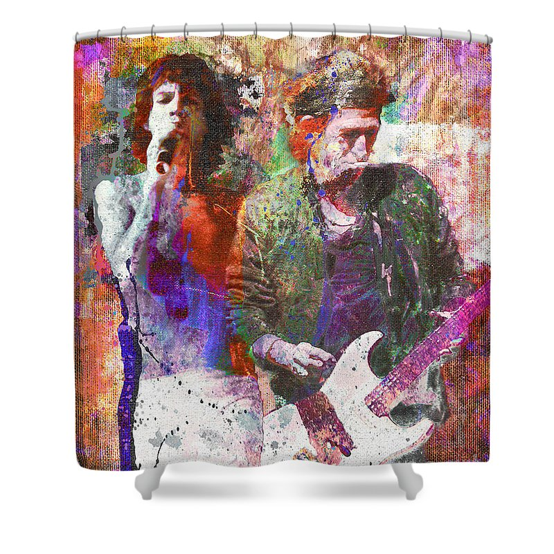 Rock N Roll The Rolling Stones Shower Curtains