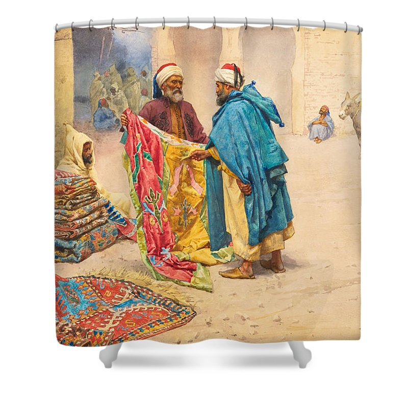 Giulio Rosati Shower Curtain featuring the painting The Rug Merchant by Giulio Rosati