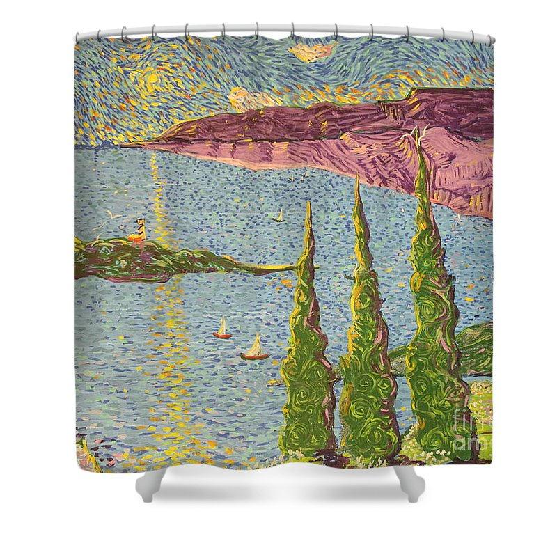 Impressionism Shower Curtain featuring the painting The Sailing Cove by Stefan Duncan