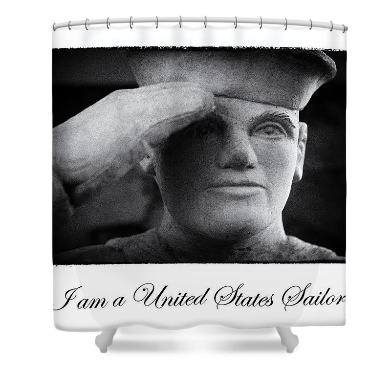 Navy Shower Curtain featuring the digital art The Sailors Creed by Tony Cooper