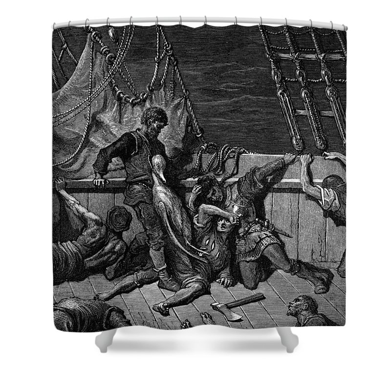 Crew; Curse; Axe; Ship; Bird; Dore Shower Curtain featuring the drawing The Sailors Curse The Mariner Forced To Wear The Dead Albatross Around His Neck by Gustave Dore