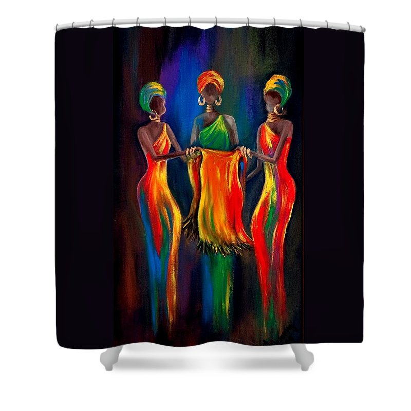 African Women Shower Curtain featuring the painting The Scarf by Marietjie Henning
