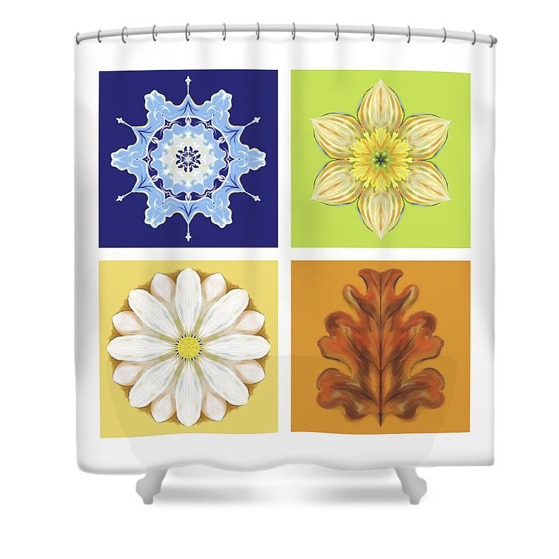 Season Shower Curtain featuring the digital art The Seasons by MM Anderson