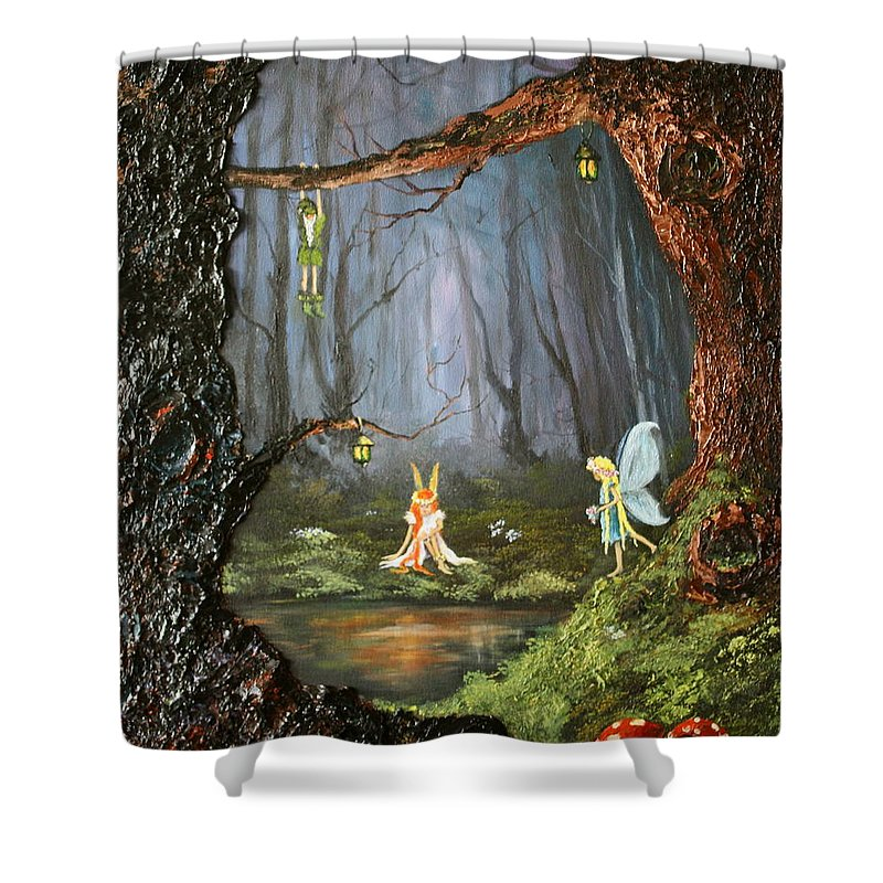 Fairies Shower Curtain featuring the painting The Secret Forest by Jean Walker