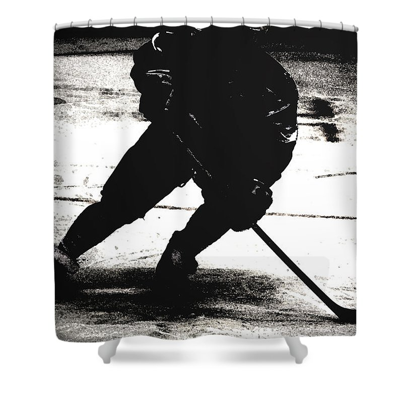 Hockey Shower Curtain featuring the photograph The Shadows Of Hockey by Karol Livote