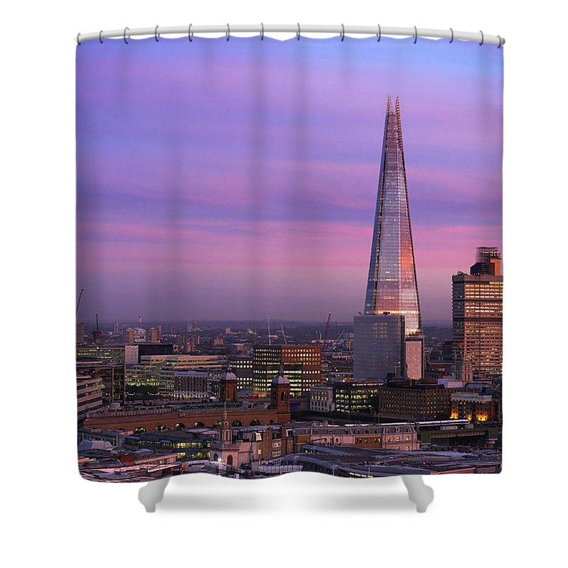 Corporate Business Shower Curtain featuring the photograph The Shard At Sunset by John Lamb