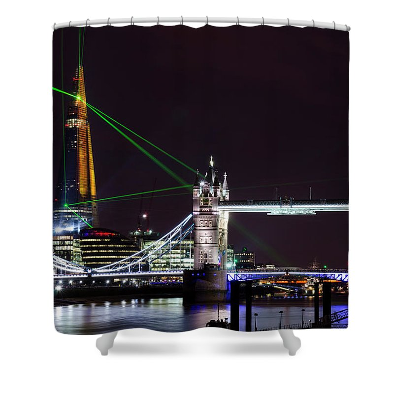 Gothic Style Shower Curtain featuring the photograph The Shard Skyscraper Opening Laser by Dynasoar
