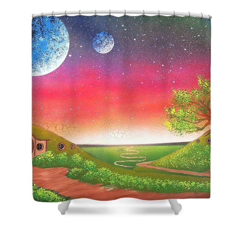 The Hobbit Shower Curtain featuring the painting The Shire by Drew Goehring