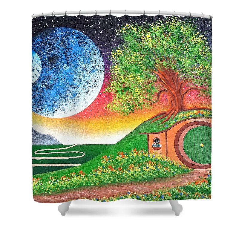 Hobbiton Shower Curtain featuring the painting The Shires Moons by Drew Goehring