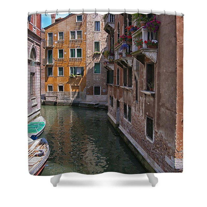 Venice Shower Curtain featuring the photograph The Silent Street by Sandra Bronstein