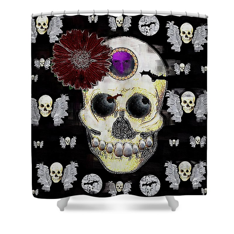 Skull Shower Curtain featuring the mixed media The Skull Is In Love With Cupidos by Pepita Selles