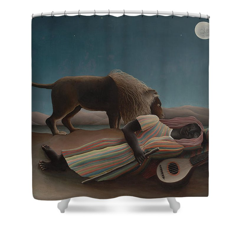 Henri Rousseau Shower Curtain featuring the painting The Sleeping Gypsy by Henri Rousseau