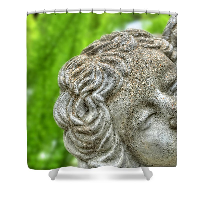 Buffalo Botanical Gardens Shower Curtain featuring the photograph The Smiling Angel Buffalo Botanical Gardens Series by Michael Frank Jr