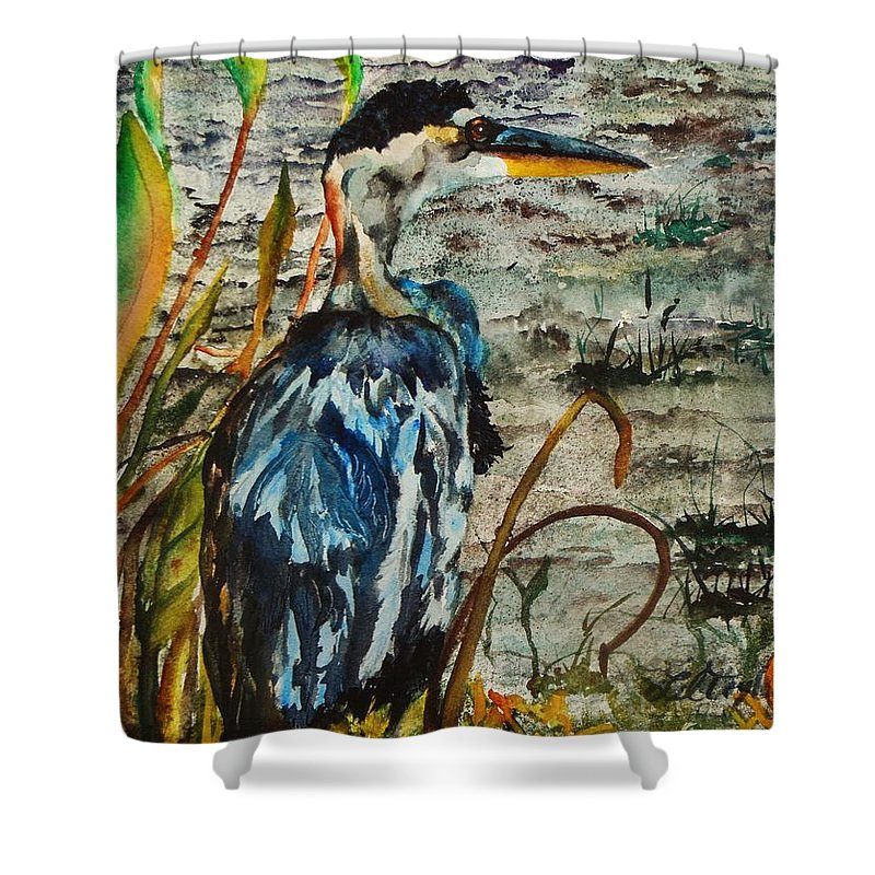 Great Blue Heron Painting Shower Curtain featuring the painting The Soft Part Of The Day by Lil Taylor