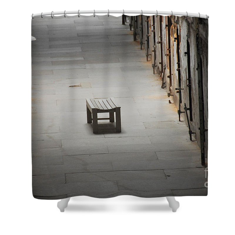 Prison Shower Curtain featuring the photograph The Solitary Seat by Cindy Manero