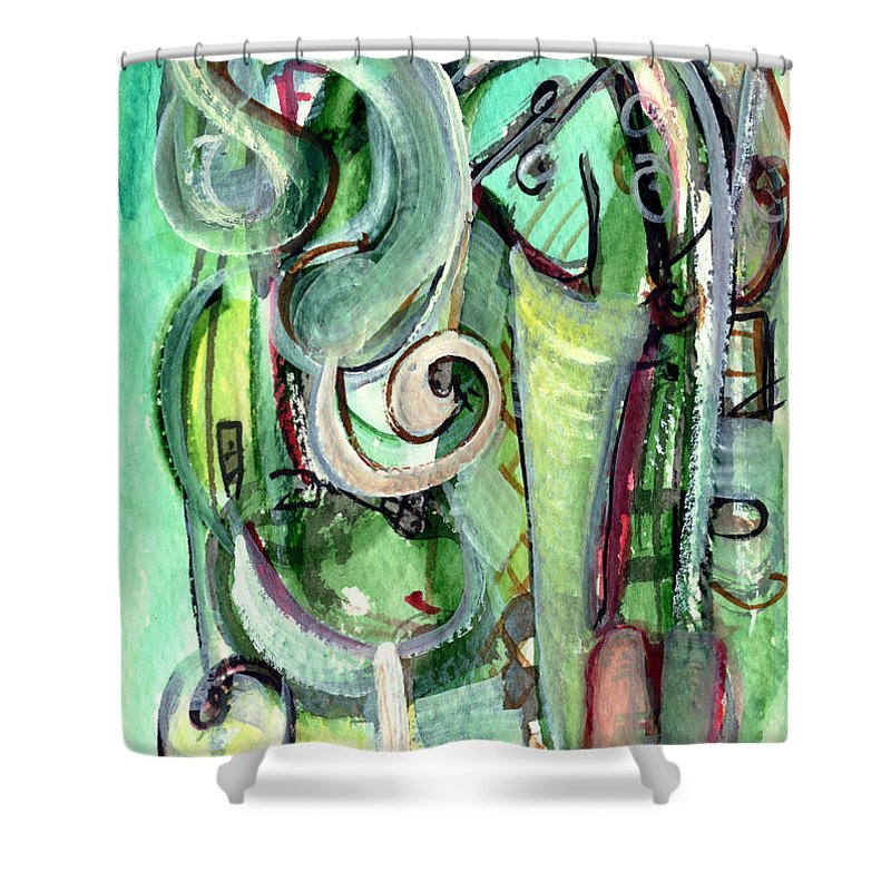 Abstract Art Shower Curtain featuring the painting The Song by Stephen Lucas