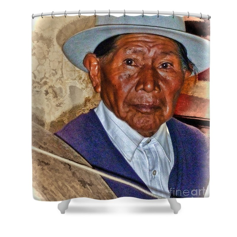 Julia Springer Shower Curtain featuring the photograph The Spinning Maestro by Julia Springer