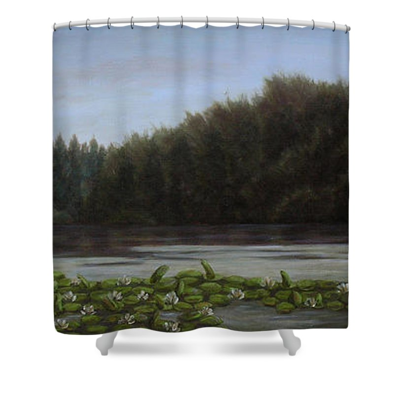 Landscape Shower Curtain featuring the painting The Spring On The Lake by Andreja Dujnic