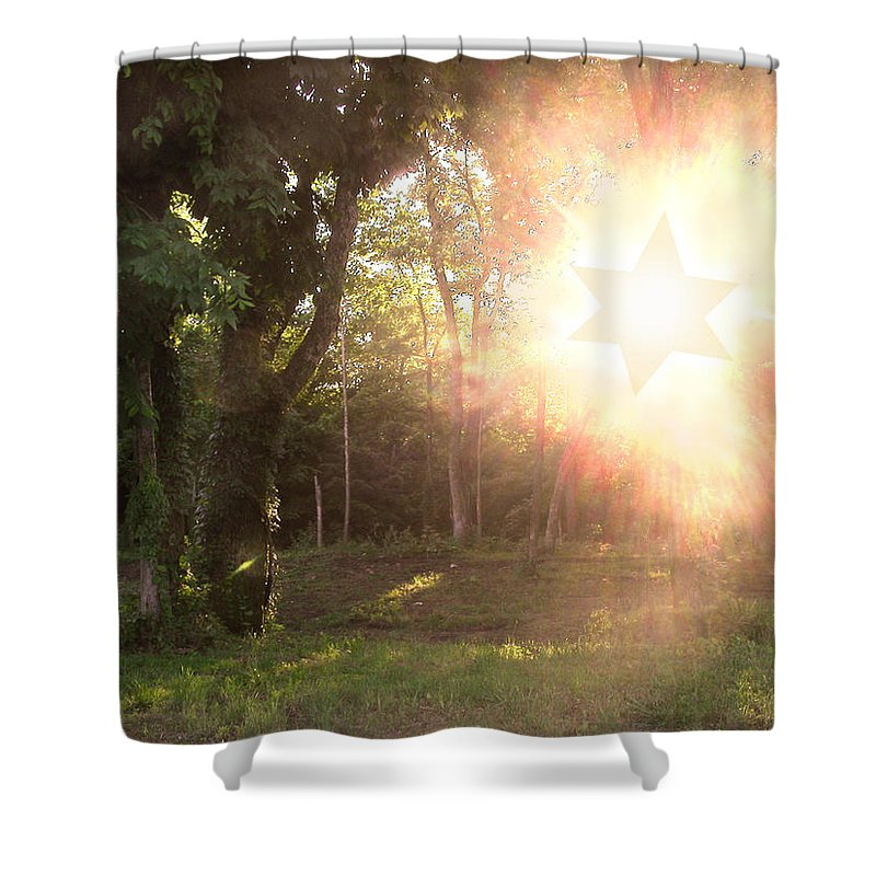 Star Of David Shower Curtain featuring the photograph The Star Of David Appeared by Anne Cameron Cutri