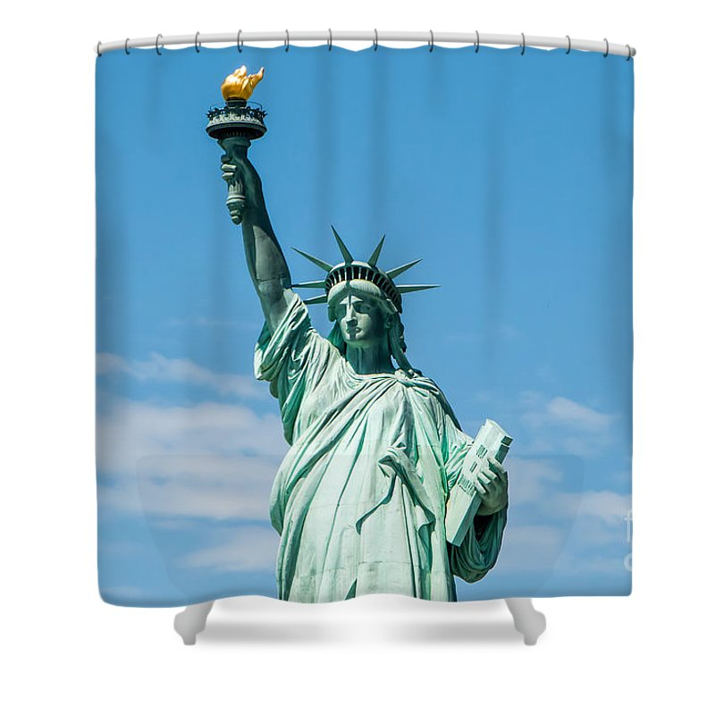 Statue Of Liberty Shower Curtain featuring the photograph The Statue Of Liberty by Anthony Sacco