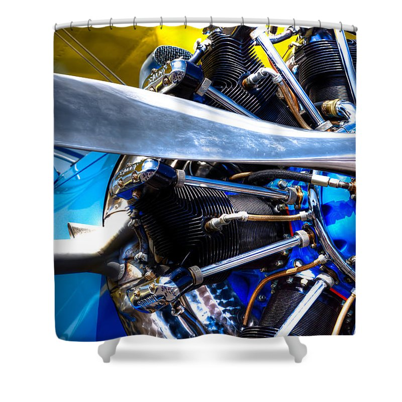 Stearman C-2 Shower Curtain featuring the photograph The Stearman Jacobs Aircraft Engine by David Patterson