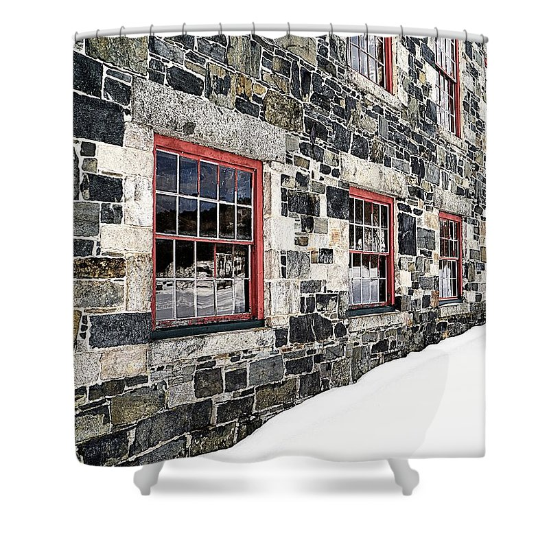 Barn Shower Curtain featuring the photograph The Stone Mill At The Enfield Shaker Museum by Edward Fielding