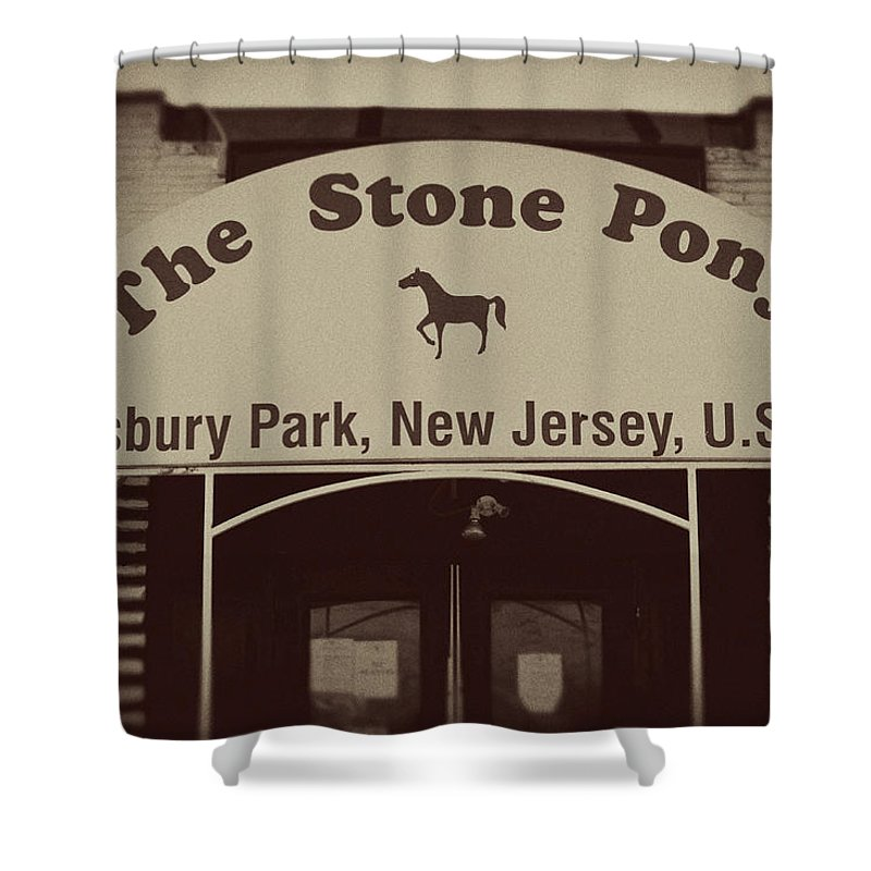 The Stone Pony Vintage Asbury Park New Jersey Shower Curtain featuring the photograph The Stone Pony Vintage Asbury Park New Jersey by Terry DeLuco