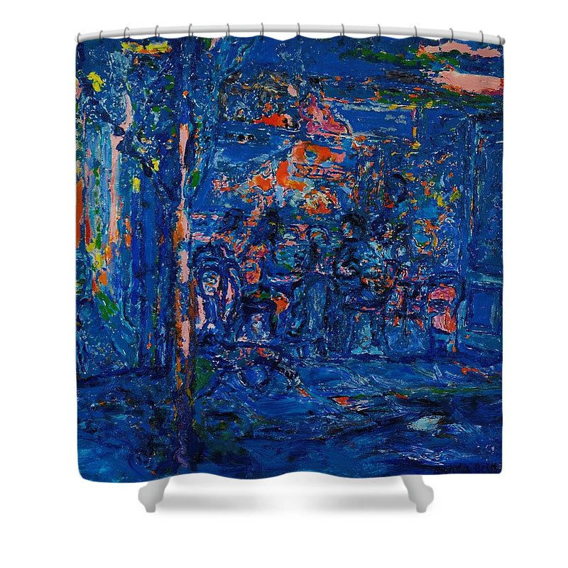 Blue Shower Curtain featuring the photograph The Street Cafe Oil On Canvas by Brenda Brin Booker