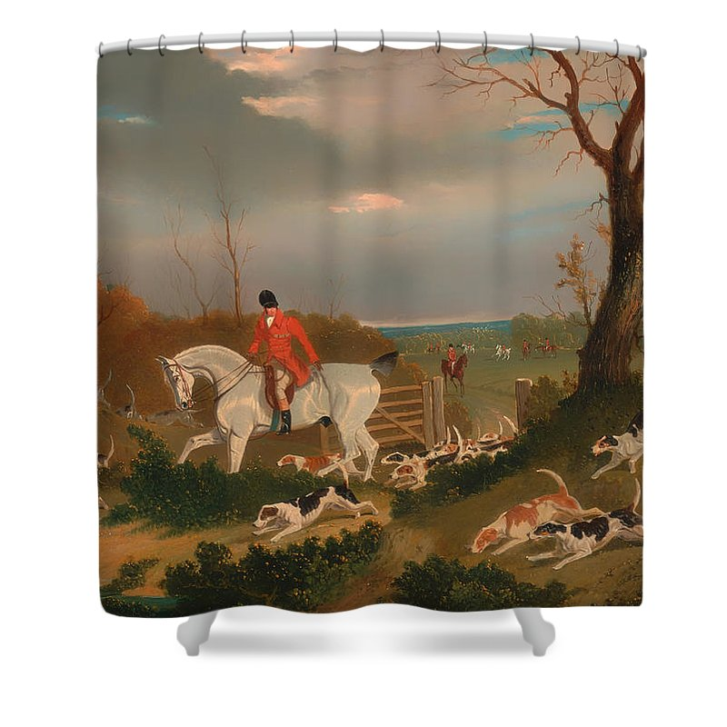 Painting Shower Curtain featuring the painting The Suffolk Hunt by Mountain Dreams