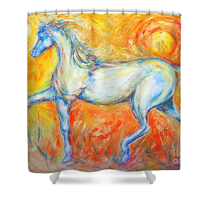 Painting By Frederick Luff Shower Curtain featuring the painting The Sun Horse by Frederick Luff