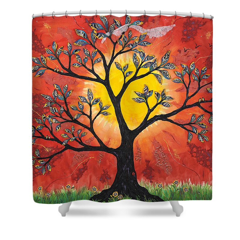 Rebirth Tree Shower Curtain featuring the mixed media The Sun Will Shine Again by Andrea Beloff